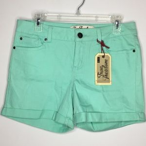 Distressed Cuffed Teal Mint Green Spring shorts